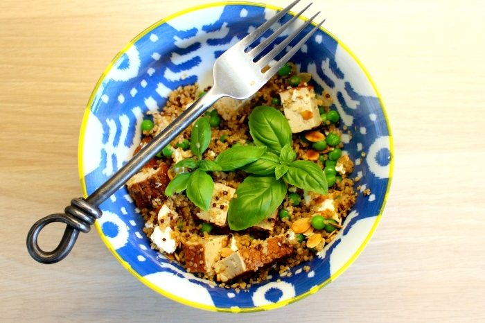 Quinoa Salad with Smoked Tofu and Almonds